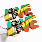 "3"" Rasta Color LOVE Theme Wood Earrings w/ Africa Map  .54 ea"