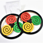 "3"" Center Rasta Color  Wood Earrings w/ Black Frame  .54 ea"
