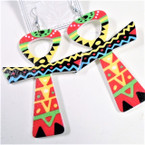 "3"" African Clothes Print Cross Wood Earrings   .54 ea"