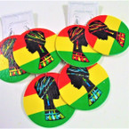 "3"" Rasta Color Wood Earrings w/ African Lady Profile  .54 ea"