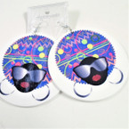 "3"" Abstract Print Cool Lady Wood Earrings  w/ Mirror Sunglasses  .54 ea"