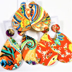 "3"" Textured Feel African Clothes Print Wood Earrings OVAL  .54 each"