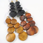 "4"" Multi Round Disc Wood Earrings CLIP ON Natural Colors .54 each"