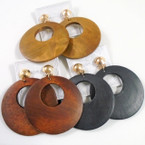"2""  Round Wood Earrings CLIP ON  Natural Colors .54 each"