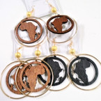 """3"""" Gold Frosted Bead Earring w/ Wood Africa Map .54 ea"""