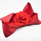 "5"" Red Gator Clip Bows w/ Red Rose Center  .54 ea"