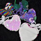 "4"" Sequin Change Color Heart Shaped Zipper Bag w/ Strap .58 ea"
