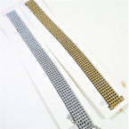 6 Row Crystal Clear Stone Gold & Silver Choker Necklace .56 ea