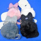 "So Cute 3.5"" Cat Theme Faux Fur Keychains w/ Glitter Ears & Tail .56 ea"