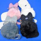 "So Cute 3.5"" Cat Theme Faux Fur Keychains w/ Glitter Ears & Tail .56 ea"