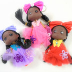 "5"" African American Doll Keychains w/ Fancy Outfit & Sparkle Access. .54 each"