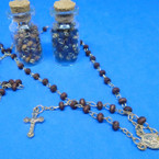 "30"" Mini Scented Wood Beaded Rosary w/ Gold Cross in Glass Bottle .58 ea"