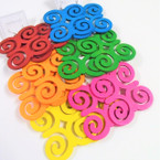 "3"" Asst Bright Color Wood Fashion Earrings Swirl Style .54 ea"