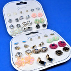Value Pack 12 Pair Mixed Style Stud Earrings .54 per set