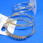 "2.5"" Gold & Silver DBL Interlocked Hoop Earrings w/ Clear Crystals .54 ea"