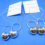"HI Fashion 4"" Long DBL Gold & Silver Loop Earring w/ Dangle Ball .54 ea"