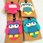 "4"" Durable Colorful OWL Theme Luggage Tags 12 per pk .56 each"