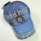 Bad Hair Day Studded Baseball Caps Brushed Dk Denim sold by pc $ 3.50 ea