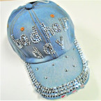 Bad Hair Day Studded Baseball Caps Brushed Lite Denim sold by pc $ 3.50 ea