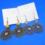 Fashionable Gold & Silver Open Design Earring w/ Bead & Stone .54 ea