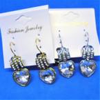 Classy Gold & Silver French Hoop Earring w/ Stones .54 ea