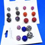 3 Pair Crystal Stone Fireball Earrings .54 per set