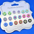 9 Pair Fimo Flower Theme Earrings .54 per set