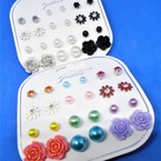 12 Pair Multi Pack Fashion Earrings As Shown .54 per set
