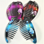 "6"" Pair Gradiant Color Jaw Combs / Hair Risers w/ Flower Print  .54 per set"