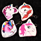 "5""-6"" Unicorn Theme Zipper Coin Purse w/ Keychain  .60 each"