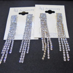 "2.75"" 4 Strand Gold & Silver Rhinestone Dangle Earrings .54 per pair"