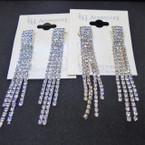 "2.75"" 4 Strand Gold & Silver Rhinestone Dangle Earrings .54 per pair"
