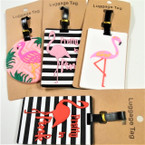 "4"" Durable 4 Style Flamingo Theme Luggage Tags 12 per pk .56 each"