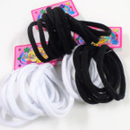 10 Pk Soft & Stretchy Black & White Ponytailers .54 per set