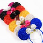 "8"" Sparkle Mouse Ear Headbands w/ Sequin Bow  Asst Colors .58 ea"