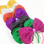 "8"" Sparkle Jumbo Bow  Headbands  Asst Colors .58 ea"
