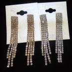 "Prom Rhinestones Earrings 3"" 4 Row Gold/Silver .54 ea pair"