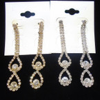 "Prom Rhinestones Earrings 2.75"" Gold/Silver w/ Clear Stones  .54 ea pair"