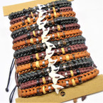 Braided Leather Cord Bracelets w/ Real Shark Tooth 12 per card .65 each
