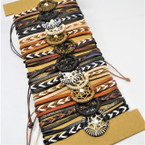 Natural Color Cord Bracelets w/ Dream Catcher 12 per card .65 each