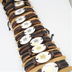 Teen Leather Bracelet w/ Oval Shell Turtle Stamp  .54 each