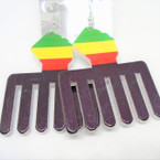 "2.75"" Rasta Color Fist Comb Wood Earrings .54 ea"