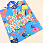 "10.25"" X 12.5"" Birthday Gift Bags w/ Raised Letters .56 each"