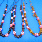 Wood Beaded Necklace w/ Fimo Puerto Rico Flag Beads .56 each