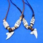 DBL Strand Leather Cord Necklace w/ Real Shark Tooth & Peace Sign .66 ea