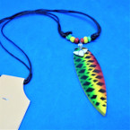DBL Strand Leather Cord Necklace w/ Real Shark Tooth & Rasta Surfboard .66 ea