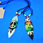 DBL Leather Cord Necklace w/ Shark Tooth & Rasta Surfboard 2 styles  .66 ea