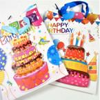 "7"" X 9.5"" Birthday Theme 3D Front Gift Bags 12 per pk .54 ea"