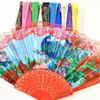 """9"""" Peacock Print Theme Hand Fans Asst Colors w/ Lace 12 per pk .54 ea"""
