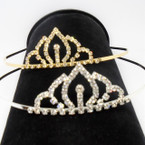 Gold/Silver Rhinestone Tiara Headbands Clear Stones (569) .65 each